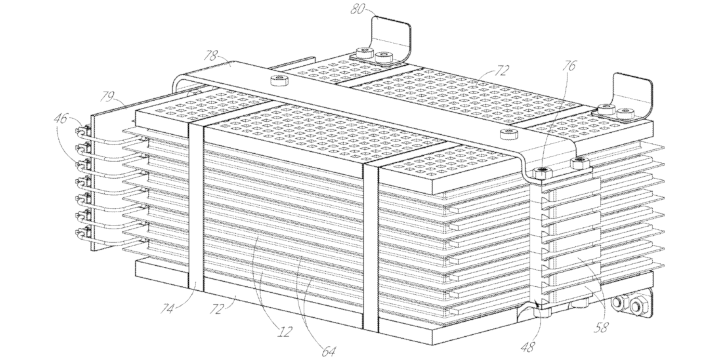Patent image of thermoelectric cooling of a battery pack with graphite heat spreaders