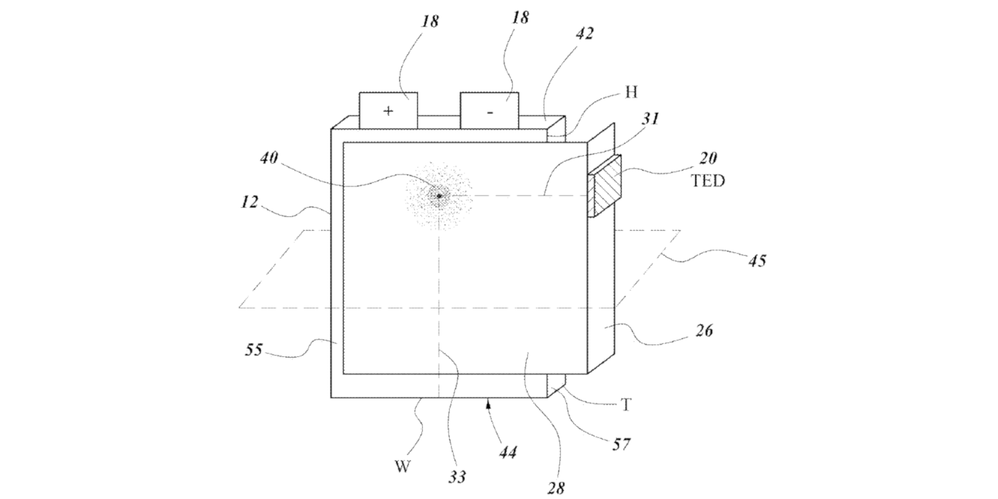 Patent image of thermoelectric battery cell cooling with heat spreaders